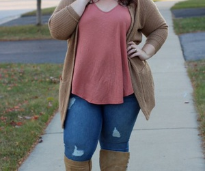 blue jeans, brown boots, and fall fashion image