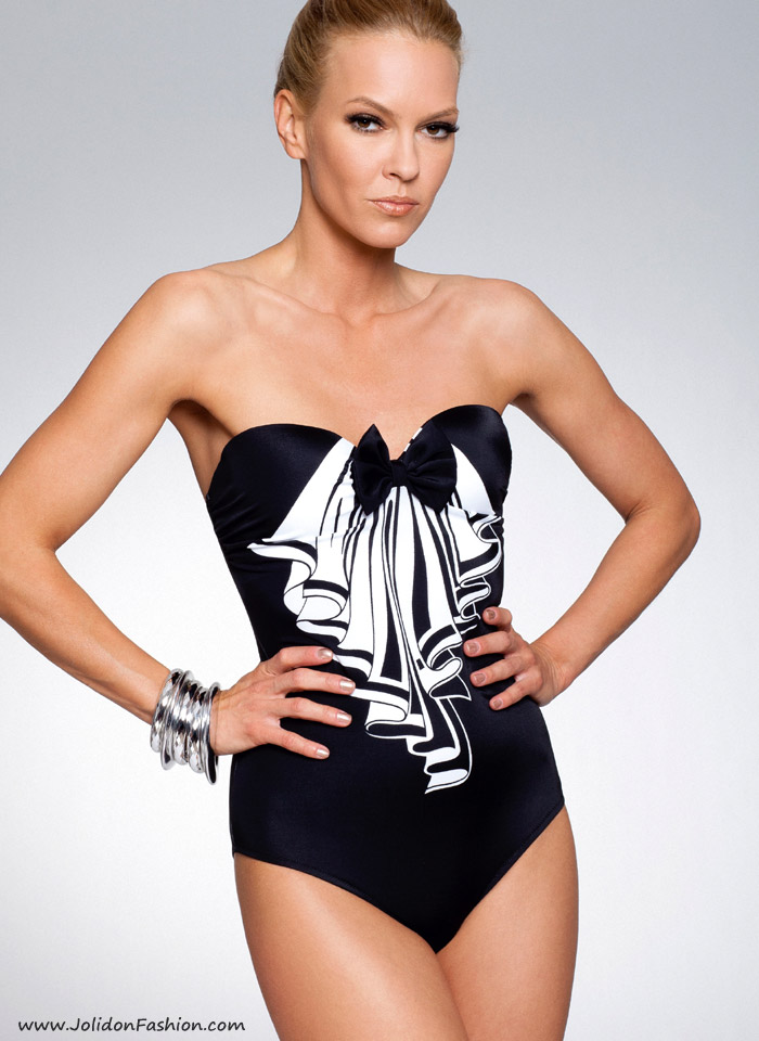 8372d0a57f0 Strapless Black & White One Piece Bathing Suit - Rebecca Designer ...