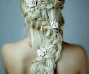 beautiful, flowers, and hair image