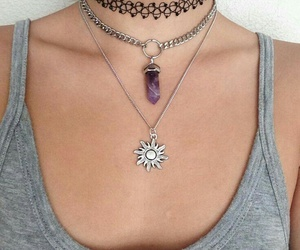 silver necklaces, black choker necklace, and grey tank tops image