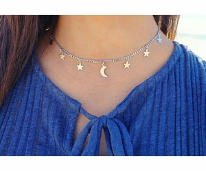 straight brown hair, blue tops, and diy choker necklace image