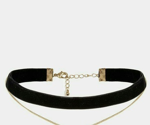 gold choker necklace, black choker necklace, and moon choker necklace image