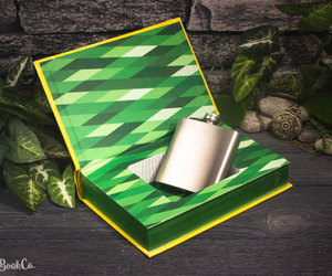 book, flasks, and green image