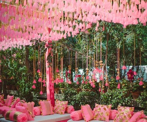 decoration, pink, and indian wedding image