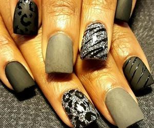 black, grey, and nail art image