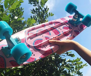 pink, skateboard, and tumblr image