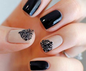 beige, black, and nail art image