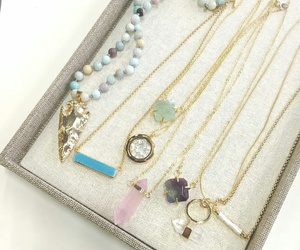 gold necklace, crystal necklaces, and mint green necklaces image