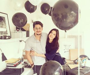 balloons, black and white, and couple image