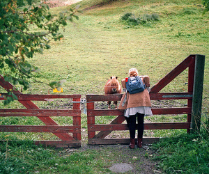 girl, nature, and horse image
