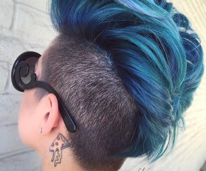 blue hair, coloured hair, and cool image
