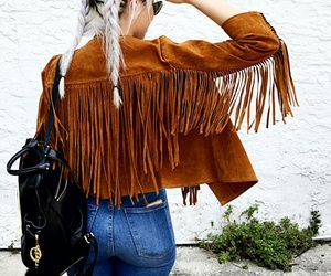 french braids, fringe jacket, and blue skinny jeans image
