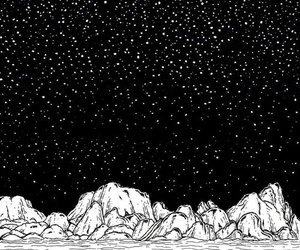 sky, stars, and black and white image