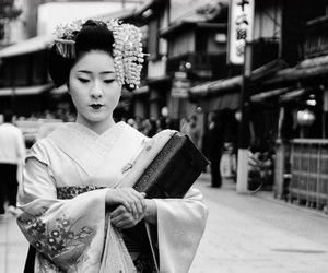 asian, black and white, and geisha image