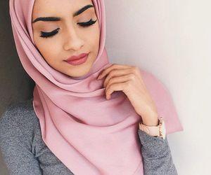 girl, hijab, and pink image