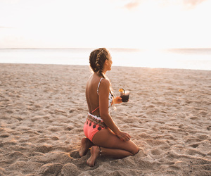 beach, girl, and braid image