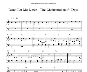 piano, sheet music, and don't let me down image