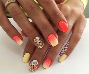 nails, butterfly, and yellow image