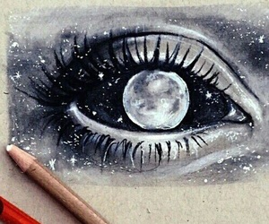 art, moon, and eye image