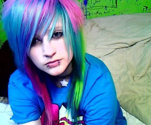 color hair, scene hair, and girl image