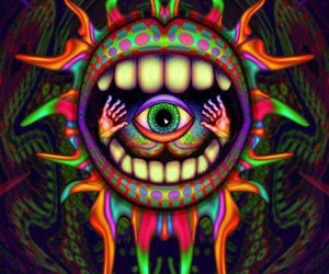 eye, mouth, and trippy image