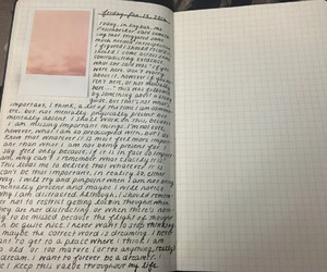 handwriting, journal, and thoughts image