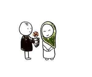 cartoon, hijab, and couple image