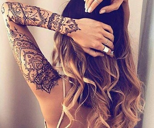 tattoo, henna, and hair image