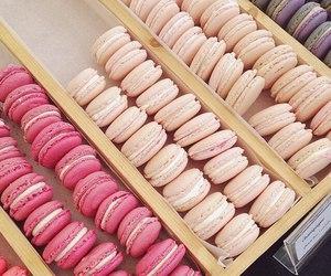 food, pink, and macarons image