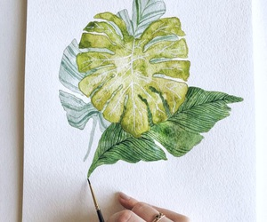 art, leaves, and watercolour image