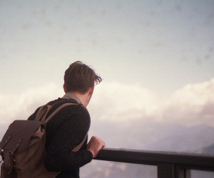 boy, clouds, and hipster image