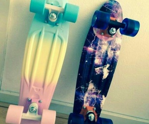 penny, penny board, and pastel image