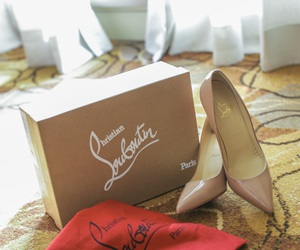beige, heels, and red soles image