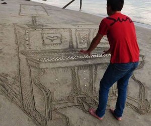art, piano, and sand image