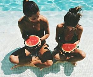 bikini, friends, and food image