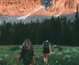 girl, nature, and mountains image