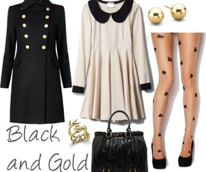 black and gold, clothes, and dress image