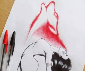 drawing, wolf, and art image