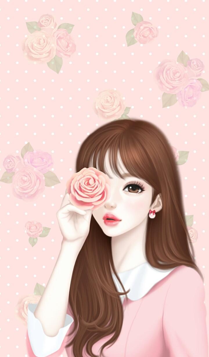 Art Art Girl Background Beautiful Girl Beauty Cartoon Cute Art Drawing Enakei Face Fashion Girl Illustration Illustration Girl Iphone Pink Roses Sweet Girl Wallpapers We Heart It Lovely Girl Beautiful Art Pastel