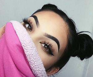 makeup, girl, and eyebrows image