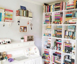 bookcase, bookworm, and books image