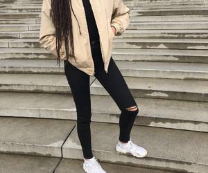 black, outfit, and beige image