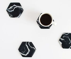 coffee, marble, and black image