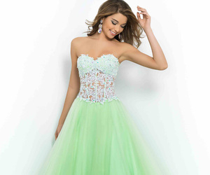ball gown, green, and fashion dresses image