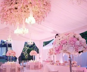 wedding, pink, and flowers image