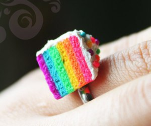cake, ring, and rainbow image