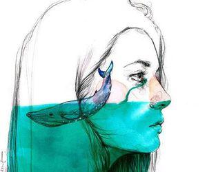 blue, tears, and whale image