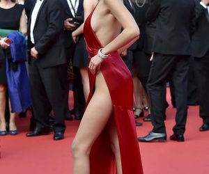 bella hadid, model, and red dress image