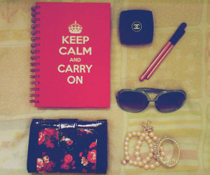 chanel, keep calm, and flowers image