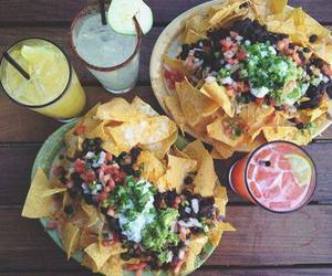 food, nachos, and drink image